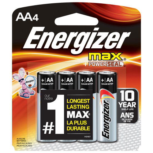 Energizer Max AA Alkaline Batteries - 4 Pack - E91BP-4 (48 Pieces)