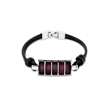 House of Amber - MENS LEATHER SILVER BRACELET WITH AMBER