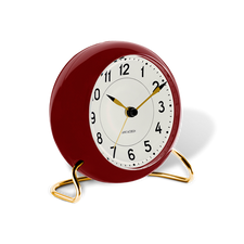 Rosendahl Arne Jacobsen Station Table Alarm Clock, Red/Gold, 4.3""