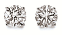 18k Gold Round Diamond Stud Earrings .33ct 1/3CT. TW. (G-H, SI2-SI3)