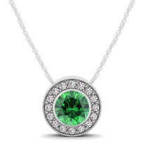 14k White Gold Round Emerald and Diamond Circle Pendant (.62ctw)
