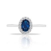 14k Sapphire&Diamond oval ring