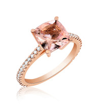 Diamond and morganite ring set in rose gold 14k