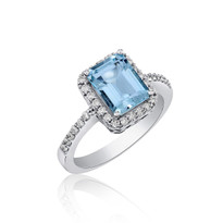 Aqua and Diamond ring in 14k white gold