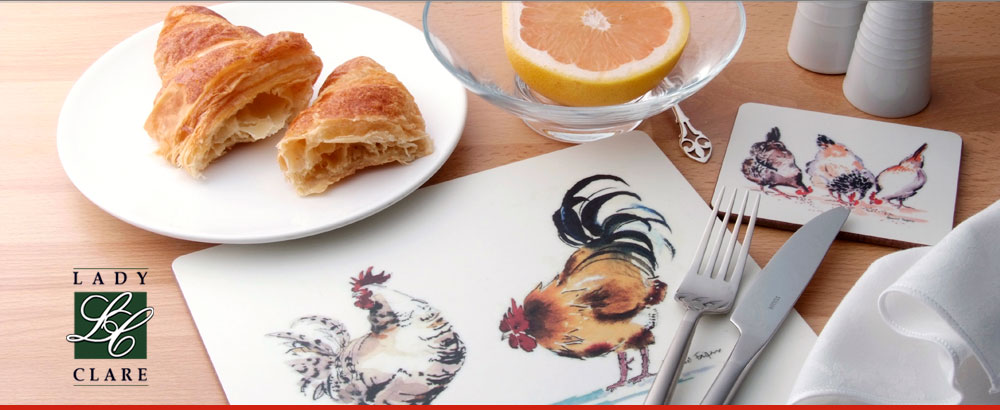 the Lady Clare Collection of fine, lacquered table placemats, coasters, trays and waste paper bins
