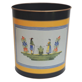 Waste Paper Bin Quimper Henriot Yellow (IN STOCK AVAILABILITY)