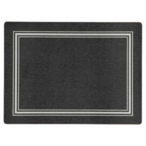 Placemats Black/Silver Melamine - Hospitality Mats - Set of 10