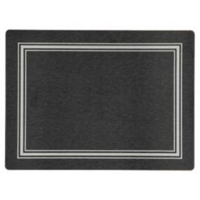 Placemats Black/Silver Melamine - Hospitality Mats - Set of 10