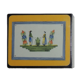 Lady Clare Quimper Henriot Yellow Coasters