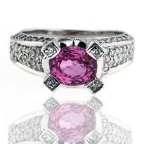 14kt White Gold Pink Sapphire Ring w. Diamond
