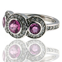 18kt WG Pink Sapphire Ring with Dia