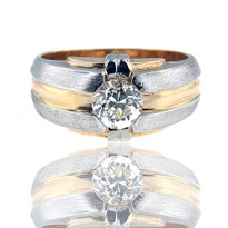 14kt Two Tone Gold Men's Diamond Ring