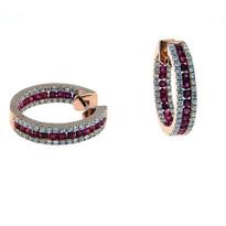 Rose Gold Ruby Diamond Earrings