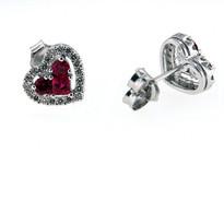 Heart Shaped Ruby Diamond Earrings