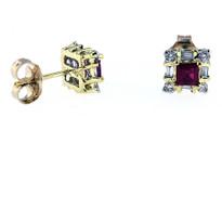 Ruby Diamond Earrings in 14kt Yellow Gold
