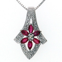 Ruby and Diamond Pendant in 14kt White Gold