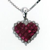 Ruby Diamond Heart Pendant