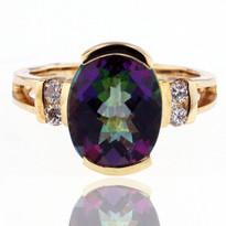 Mystic Topaz Diamond Ring in Yellow Gold