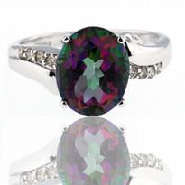 Mystic Topaz Diamond Ring in 14kt White Gold