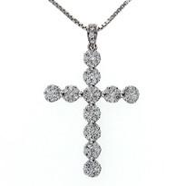 18kt White Gold GVS2 Diamond Cross