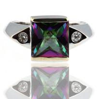 Mystic Topaz Diamond Ring in White Gold
