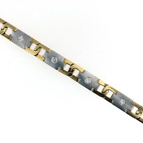 Men's Diamond Bracelet in Two Tone Gold