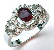 1/2ct Ruby Ring with 30 Diamonds in 18kt White Gold