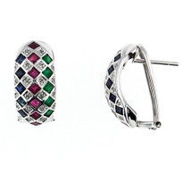 14kt White Gold Multi Color Diamond Earrings