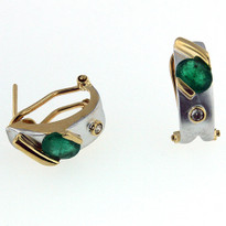 14kt Two Tone Emerald Earrings with Diamond