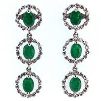 Dangling Emerald Diamond Earrings in 18kt White