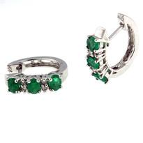 Emerald Diamond Earring set in 14kt White Gold