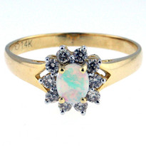 Opal .19ct Diamond Ring in 14kt Yellow Gold