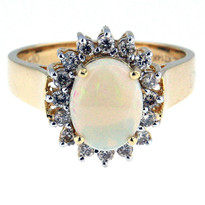 14kt Yellow Gold Opal Ring with Dia
