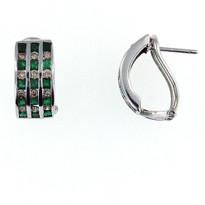 14kt White Gold .96ct Emerald Diamond Earrings