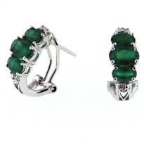 Emerald Diamond Earrings in White Gold