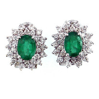 14kt White Gold Emerald Diamond Earrings