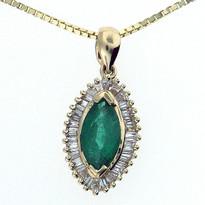 14kt Yellow Gold Emerald Diamond Pendant