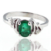 14kt White Gold Emerald Ring with Dia