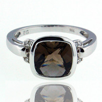 Smokey Topaz .04ct Diamond Ring in White Gold