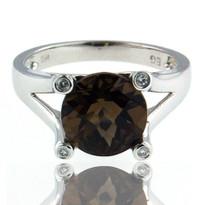 Smokey Topaz White Gold Diamond Ring