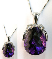 Amethyst Diamond Pendant in 14kt White Gold
