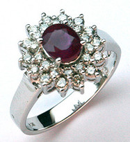 14k Ruby Ring with 28 Diamonds