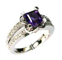 14kt White Gold Amethyst Ring with .45ct Dia
