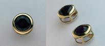 Round Garnet Earrings in 14kt Yellow Gold