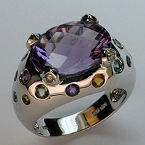 14kt White Gold 5.68ct Amethyst Ring