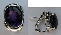 Amethyst Earrings with .23ct Diamonds in 14kt White Gold