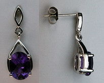 14kt White Gold Amethyst Earrings with 2.20ct Gemstones