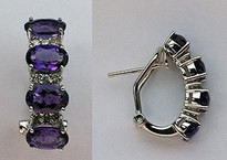 14kt White Gold Amethyst Earrings with .22ct Diamonds