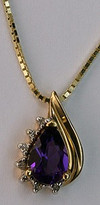 14kt Yellow Gold Pear Amethyst with .10ct Diamonds