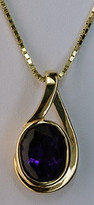 14kt Yellow Gold Oval Amethyst Pendant